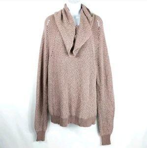 Free People Womens Sweater Size Medium Pink Brown